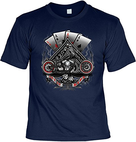 Camisa de motero – Bike and Poker – Let it Ride – Camiseta de EE. UU. para verdaderos Kerle azul marino XXL