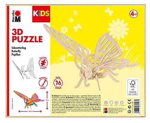 Marabu 317000000020 - KiDS 3D Holzpuzzle Schmetterling, mit 16 Puzzleteilen aus FSC-zertifiziertem Holz, ca. 26 x 19 cm groß, einfache Stecktechnik, zum individuellen Bemalen und Gestalten