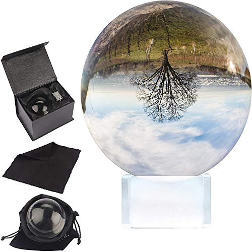 BELLE VOUS K9 Glaskugel 100mm - 10cm Fotokugel mit Kristall Ständer, Samt Tasche, Mikrofasertuch, Geschenkbox - Klare Kristallkugel Lensball für Fotografie - Glas Kugel Wahrsager & Meditation
