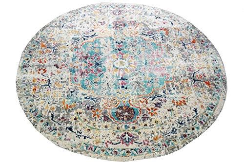 CARPETIA Teppich Outdoor Orientteppich Ornamente Wohnzimmerteppich Vintage in grau blau Größe 200 cm Rund