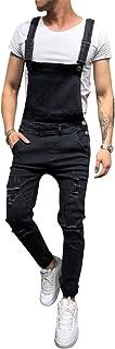 Men's Denim Bib Overalls Fashion Slim Fit Jumpsuit with Pockets