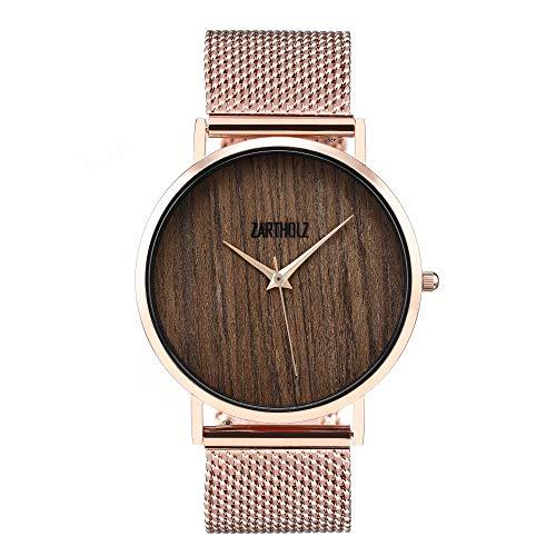 Vintage dameshorloge houten klok met hout hout wijzerplaat en meshband lederen armband roségoud 38 mm