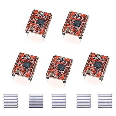 Jixista Stepper Motor Driver StepStick Motor Driver Stepstick Stepper Motor Driver Module With Heat Sink Compatible 5pcs for Arduino 3D Printer Reprap CNC Machines Robots