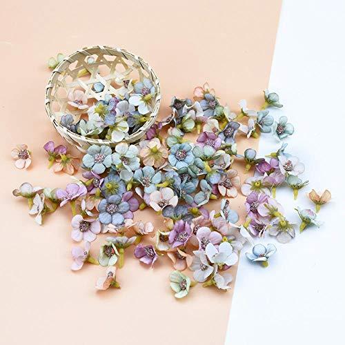 YF-1 50 Piezas 2 cm Margarita Flor Cabeza Mini Seda Artificial Flor Pared para Corona Scrap Boda decoración del hogar DIY Guirnalda Tocado