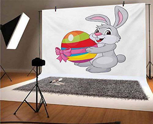 Fondo de vinilo para fotos de Pascua, de 20 x 10 pies, lindo conejo de dibujos animados con un colorido huevo a rayas con una cinta de Pascua divertido fondo para niños baby shower, estudio de fotos