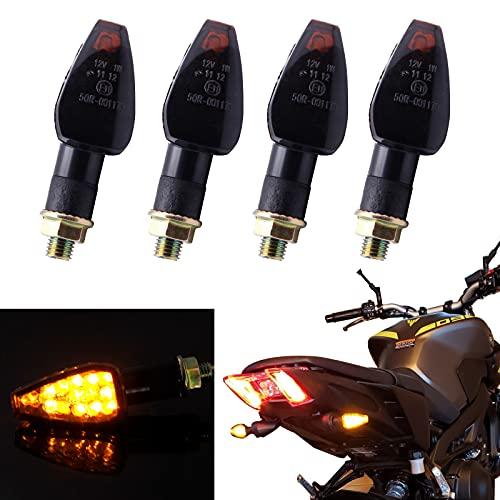 JMTBNO 4pcs Intermitentes Moto Homologados LED Señal de Giro Indicador de Motocicleta 10mm Luces Ambar Impermeable Universal para Motocicleta Cafe Racer Scooter Quad