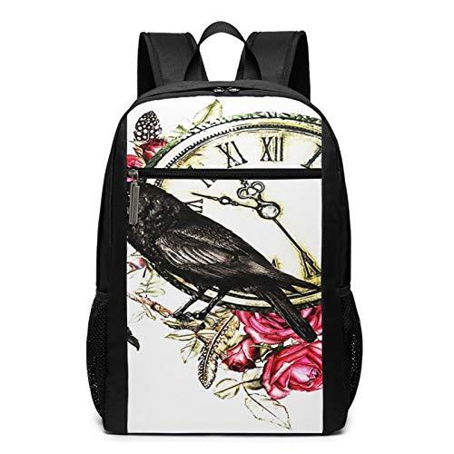 OMNVEQ Mochila Escolares Raven Crow Red Roses Clock, Mochila Tipo Casual para Niñas Niños Hombre Mujer Mochila para Ordenador Portátil Viaje