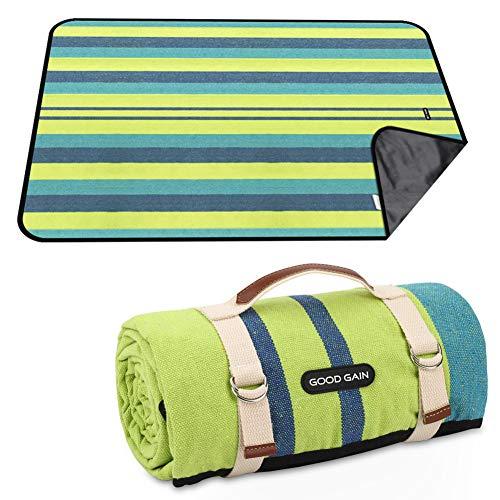 GOOD GAIN Picknickdecke, wasserdicht und sanddicht, Stranddecke, tragbar mit Trageriemen, XL-große, faltbare Picknickdecke, maschinenwaschbar für Outdoor-Camping, Party, nasses Gras, Wandern