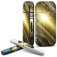 IQOS 2.4 plus 専用スキンシール COMPLETE アイコス 全面セット サイド ボタン デコ クール 模様 黄色 グレー 001958