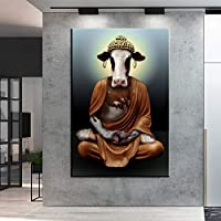 面白い動物アート牛コピー仏キャンバス絵画壁アートポスタープリント壁の写真リビングルームの家の装飾60x100cmフレームレス