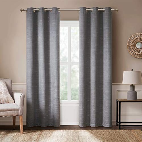 Hyde Lane Modern Farmhouse Curtains for Living Room   Rustic Style Bedroom Window Treatments   Grasscloth Faux Linen   Grommet Top for Sliding Door - Grey 40x84 Inches, 2 Panels