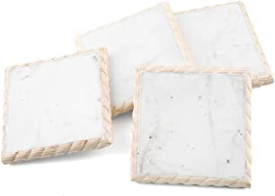 Thirstystone Set of Marble Coasters with Wood Trim