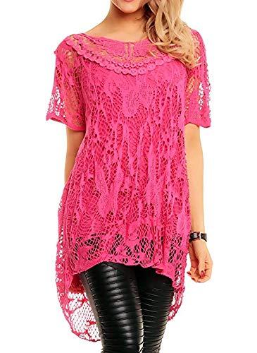 NAZ Fashion Womens Italiaanse Lagenlook kant gehaakte mesh tuniek korte mouw Top Vest Twin Set (Fuchsia, 12/14)