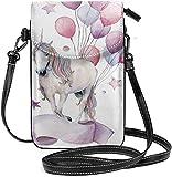 Trista Bauer Femmes Petit téléphone Portable Sac à Main bandoulière, Bouteille de vin Rose Verres Bulles Fond Dessin animé