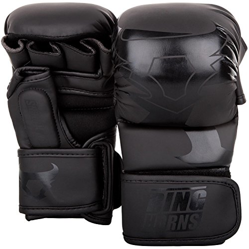 Ringhorns Charger MMA Sparring Handschuhe, Schwarz/Schwarz, S/M