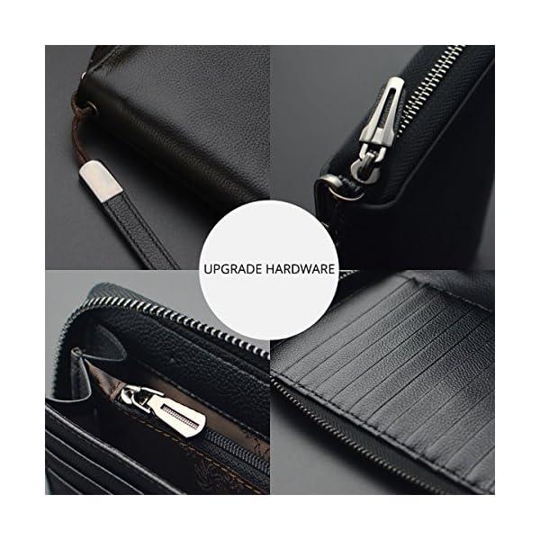 Women RFID Blocking Wallet Leather Zip Around Phone Clutch Large Travel Purse Wristlet 4