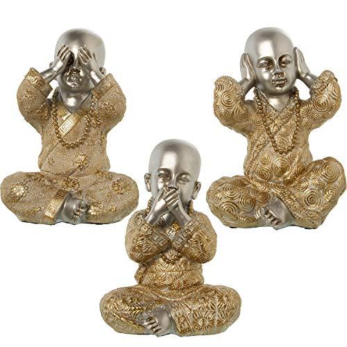 DRW set met 3 Boeddha-figuren met tunieken van kunsthars in zilver en goud, 16,5 x 11 x 20 cm