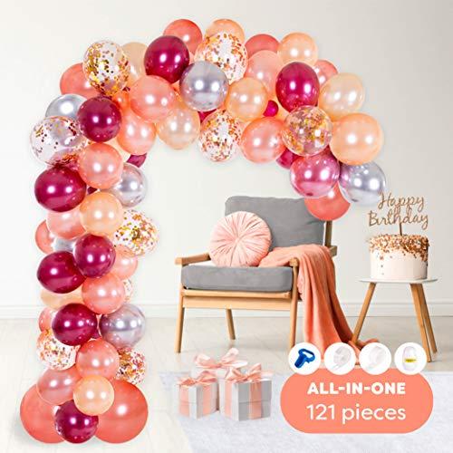 Ballon-Girlande- & Bogen-Set | inkl. Luftballons in Rosé-Gold, Pfirsich, Burgunder-Rot & Silber, Binde-Werkzeug, Ballon-Band-Streifen & Klebe-Punkte | Dekoration für Geburtstag, Babyparty, Hochzeit