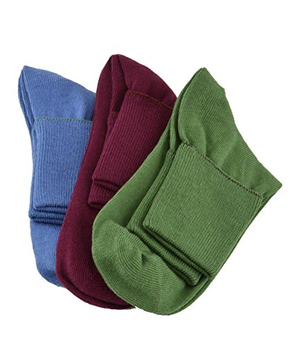 Sierra Socks Women's 3 Pair 100% Cotton Ankle Turn Cuff Seamless Toe (9 (Fits Shoe Size 6-7), A1 (Wine/Blue/Green))