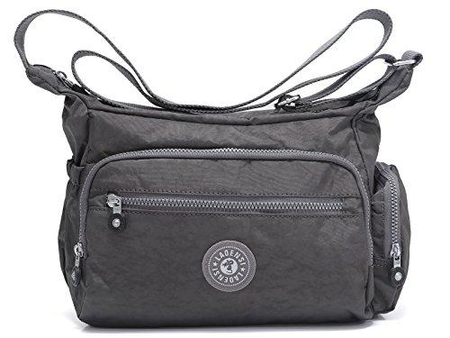 BEKILOLE Nylon Crossbody Purse Multi-Pocket Travel Shoulder Bag - Unisex Water Resistant Travel Bag