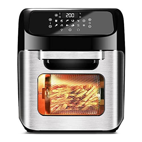 12L Heißluftfritteuse Heißluft-Backofen,1800W 12 in 1 Edelstahl Toasterofen mit Touchpanel inklusive Deluxe-Zubehörsatz und Rezeptbuch für Air Fry Toast Braten Grillen Dehydrate, 1800W