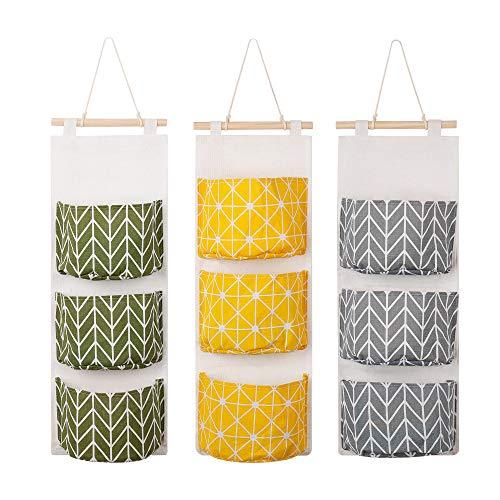Hängende Aufbewahrungstasche Wand Tür Organizer Utensilientasche mit 3 Taschen Hängeorganizer Für die tägliche Lagerung Grün + Grau + Gelb 3 Stück