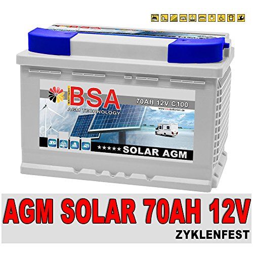 Solarbatterie 70Ah 12V AGM Gel Versorgungsbatterie Wohnmobil Mover Boot Solarakku