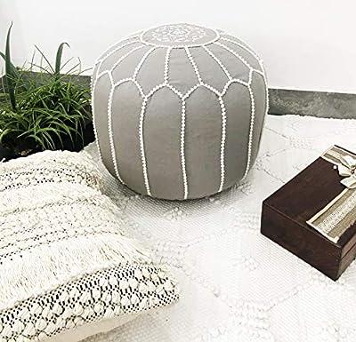 Frenish Décor Stuffed Moroccan Pouf 100% Cotton, Bohemian Living Room Decor Ottoman Footstool - Round & Large Ottoman Pouf- Grey (Stuffed)