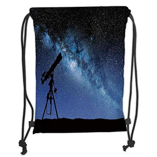 Fevthmii Rucksäcke mit Kordelzug, für Galaxy, Teleskop Tal unter Sternenhimmel, milchige Stimmung, Galaxie, Dunkelblau, Schwarz, weich, Satin, 5 Liter Kapazität, Verstellbarer Schnurverschluss