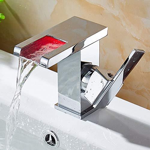 Ppigle 3 Farbe LED Wasserfall Wasserhahn Bad Waschbecken Wasserhahn Moderne LED Armatur Für Das Bad Einhebelmischbatterie Messing Chrom