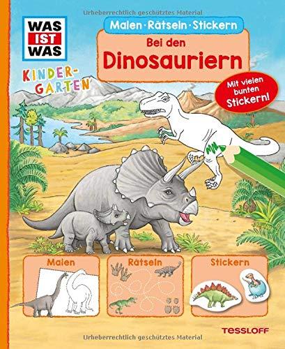 WAS IST WAS Kindergarten Malen Rätseln Stickern Bei den Dinosauriern.