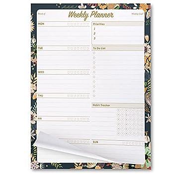 Oriday Weekly Planner Task Organizer Pad - 52 Sheets Undated Planning Tear-away Notepad  7.8  x 10  Dark Flower