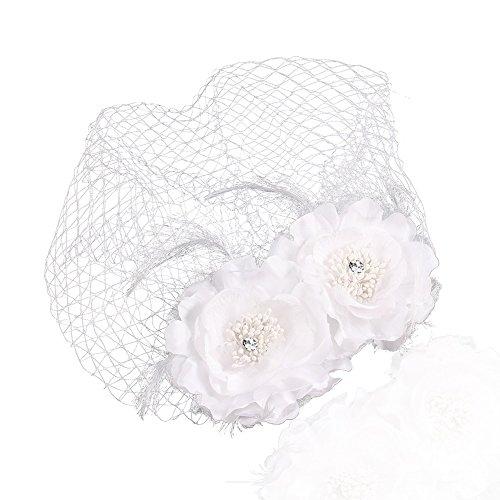 Autiga Fascinator Birdcage Brauthut mit Netz Schleier Veil Braut Haarschmuck Gesichtsschleier Hochzeit Feder weiß