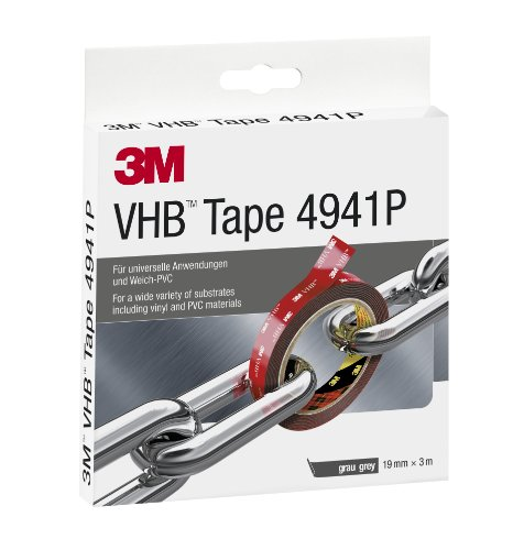 3M VHB 4941 Hochleistungs- Doppelseitiges Klebeband (Metall kleben, Kunststoff kleben, Porzellan kleben, PVC-Kleben) 19 mm x 3 m, Grau, Schutzabdeckung: Papier (1-er Pack)