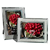 Amazon Brand - Umi Marcos de Fotos de 10x15 de Vidrio para la Mesa, Conjunto de Portafotos de Cristal, con el Borde Brillante, Set de 2