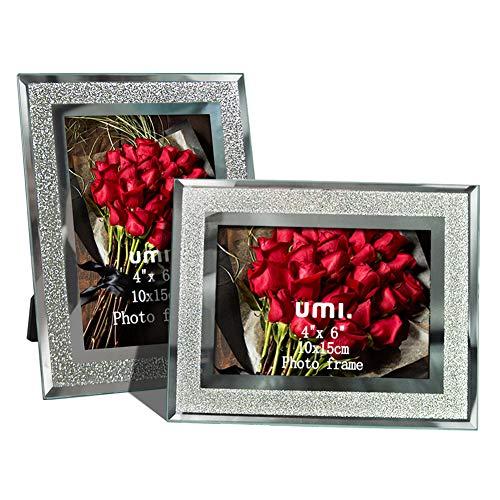 Amazon Brand - Umi Glitzernder Bilderrahmen 10x15cm aus Glas, 2er Set