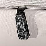 MINGZAIQIPEI Gafas de sol para coche, clips para gafas de sol de coche, con diamantes de imitación, soporte para tarjeta de billete con pinza de sujeción Bling Glitter Clip portátil (negro)