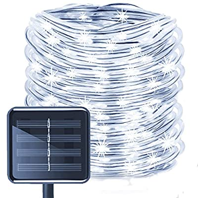 WONFAST Solar Rope Lights Outdoor,WONAFST 39ft 100LED LED Rope Lighting Waterproof Copper Wire Rope String Light for Christmas Home Garden Patio Parties Decor