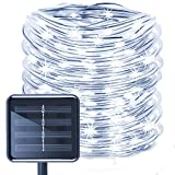 Solar Rope Lights Outdoor,WONAFST Waterproof 39ft 100LED Rope Copper Wire Tube Decorative String Light for Christmas Home Garden Patio Parties Decor (White)