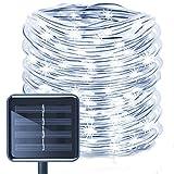 Guirlande Lumineuse LED kingcoo® étanche - 12m 100LED - Alimentation solaire - Tube flexible avec fil en cuivre - Noël - Éclairage de plafond pour mariage ou fête en extérieur weiß