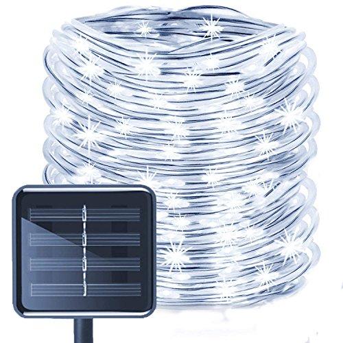 LED Guirlande lumineuse,KINGCOO Etanche 39ft 12M 100 LED conduit à énergie solaire tuyau souple Tube Rope Fil de cuivre de Noël étoilées de lumières pour le mariage Outdoor Garden Party (Blanc)