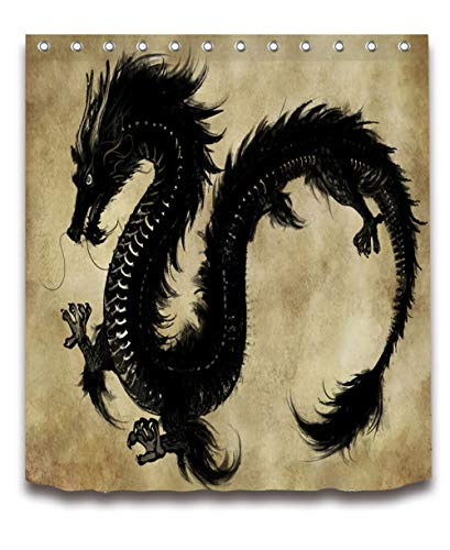 None brand Retro Black Dragon Duschvorhang Mit Wasserdichtem Bad Mehltau BestäNdigem Polyester Stoff FüR KüNstlerische Badewanne Dekor-B90xh180cm