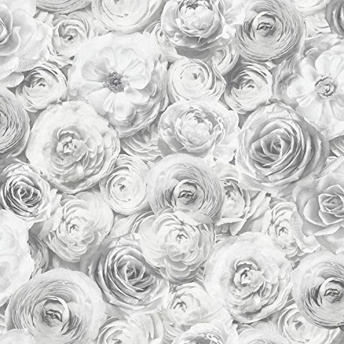 Arthouse Wild Rose Floral Wallpaper Silver Grey Petals Flowers 3D Feature Wall