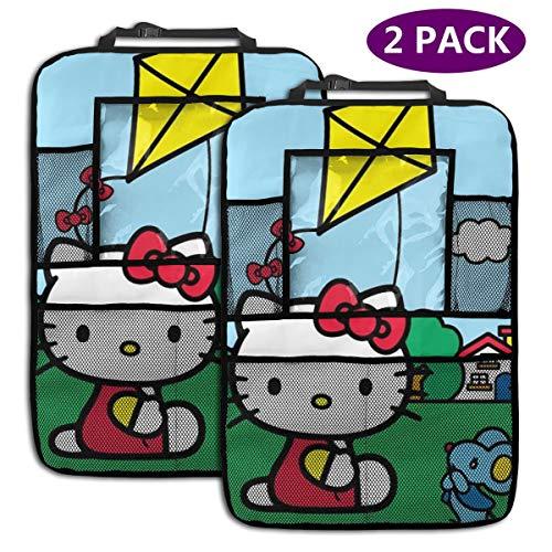 TBLHM Hello Kitty Flying A Kite Lot de 2 Sacs de Rangement pour siège arrière de Voiture avec Support pour Tablette