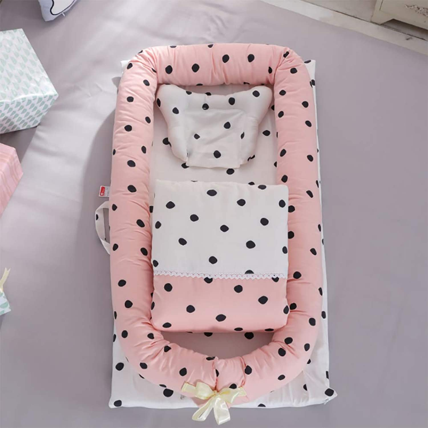 Crib Cotton Multi-Function Folding Portable Travel Baby Bionic Crib Suitable for Age 0-24 Months Baby (Removable Quilt),H