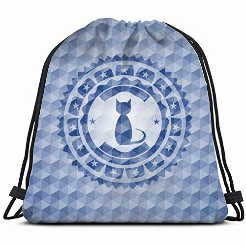 cat icon inside blue emblem badge miscellaneous adorable Drawstring Backpack Gym Sack Lightweight Bag Water Resistant Gym Backpack for Women&Men for Sports,Travelling,Hiking,Camping,Shopping Yoga