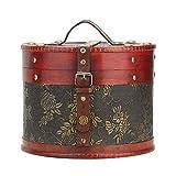 Caja de almacenamiento de madera vintage, organizador de pasteles de té de escritorio redondo, contenedor de joyas, cofre del tesoro, decoración del hogar (estilo chino)(6211A-03-A grande)
