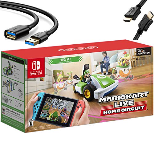 Newest Nintendo Mario Kart Live: Home Circuit - Luigi Set Edition - Holiday Family Gaming Bundle for Nintendo Switch, Nintendo Switch Lite - Green - iPuzzle 6ft USB Extension Cable + HDMI Cable