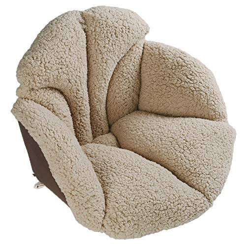 Hughapy Chair Cushions Desk Seat Cushion Warm Comfort Sherpa Wool Seat Cushion Pad for Support Waist Backrest, Winter Plush Cushion for Home Office Chair, Car Seat (Sherpa |19Wx16Lx16H, Khaki)