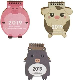 (Pack of 3) October 2018 - December 2019 Desktop Calendar Stand, Cute Cartoon Animal Daily Monthly Table Planner Agenda